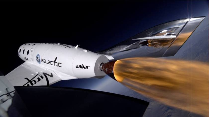 Le SpaceShipTwo de Virgin Galactic lors de son  3ème vol propulsé le 10 janvier 2014.