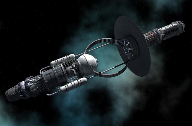 Vue d'artiste d'un vaisseau utilisant l'énergie émise par un trou noir pour se propulser.