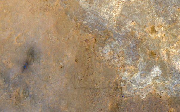 Image de la zone d'atterrissage de Curiosity prise la sonde orbital MRO de la NASA.