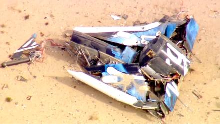 Les restes du SpaceShipTwo de virgin Galactic qui s'est écrasé le 31 octobre 2014.