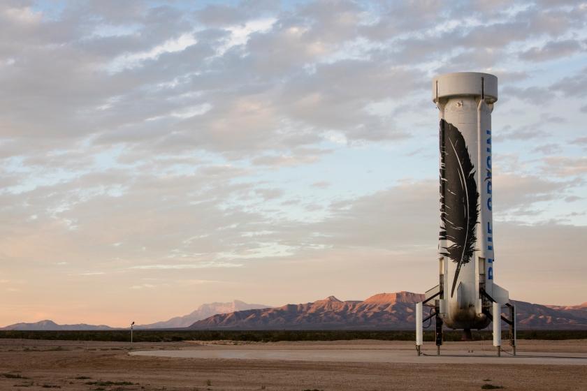 Le booster du New Shepard après son retour sur Terre le 23 novembre 2015.